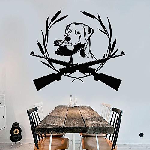 guijiumai Tiere Wandaufkleber Hund Dekoration Vinyl Wandtattoo Pistole Wildfowl Abnehmbare Selbstklebende Wandbild Wohnzimmer Modern weiß 99x85 cm