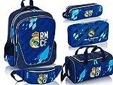 Set 5 teilig Real Madrid Logo Rucksack Schulranzen Federmappe Federtasche gefüllt Sport Tasche Fitnesstasche Stiftetasche Bleistiftbeutel Gürteltasche Bauchtasche 5tlg. blau Schulset