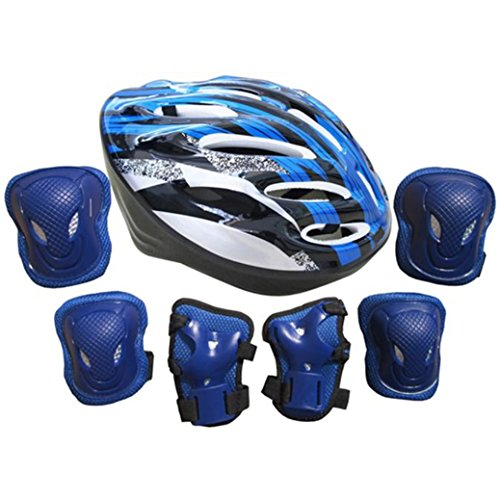7pcs-adultos-autobalanceo-bici-roller-rodilla-juegos-de-pastillas-codo-muneca-casco-azul