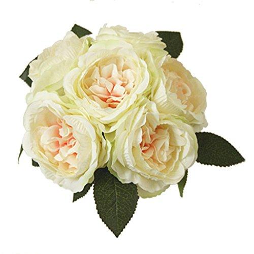 Bouquet de Fleur Artificielle Pivoine Décoration Maison Mariage - Blanc Cassé