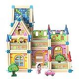 Jacootoys Casa delle Bambole in Legno Kit casa Fai-da-Te Set da Gioco Fatto a Mano - Miglior Regalo per Bambini 128 Pezzi