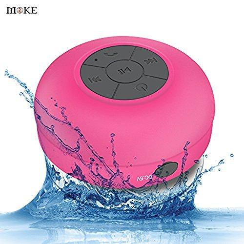 MOKE mini drahtlose wasserdichte Bluetooth 3.0 Hände frei tragbaren Mikrofon Dusche Lautsprecher (Rosa)
