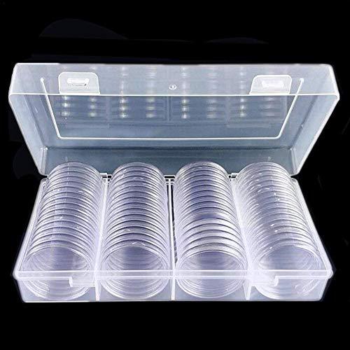 Phrat 40mm Münzsammeln Silber Eagles Münzkapseln Münzfach Münzhalter Vorratsbehälter Mit Aufbewahrungsbox für Münzsammelmaterial