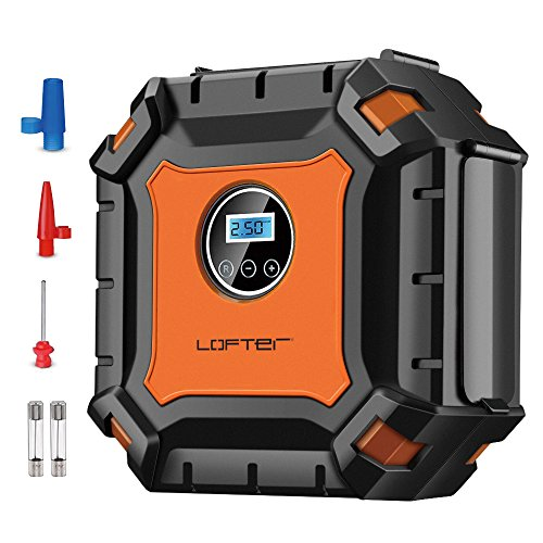 Digital Auto Luftpumpe, LOFTer Profi Reifen Kompressor Reifenpumpe mit LED Notlicht, Luftkompressor 100 PSI 3.3M Kabel 3-Ventil-Adapte für Auto Luftballon Matratze und Aufblasbares Spielzeug Best Geschenk Orange..