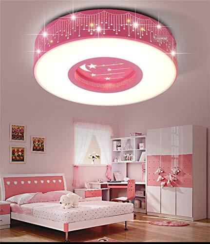 Habitación infantil, lámpara de techo, niño, niña, bebé, dormitorio, lámpara de cartón, decoración de círculo creativo de 24 W, luces de techo, rosa, color tri