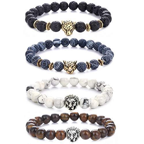 Mit Liebe Perlen Rock (Hongyantech 4 Stuck Lavastein Armband Perlen Armbänder für Herren und Damen Natur Stein Armbänder)