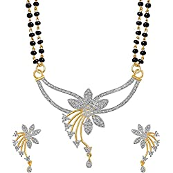 Quail Black Silver Flower American Diamond Mangalsutra Set With Beaded Chain For Women