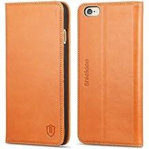 Funda iPhone 6s, Funda iPhone 6, SHIELDON funda piel genuino para iPhone 6s / iPhone 6 4.7 pulgadas, carcasa en folio, soporte plegable, cartera para tarjetas, cierre magnetico, marrón