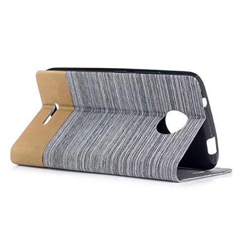EKINHUI Case Cover Mischfarben Segeltuch-Jeans-Tuch-Beschaffenheit PU-lederner weicher TPU rückseitige Abdeckung mit Kickstand und Kartenschlitzen für Motorola MOTO C ( Color : Blue ) White