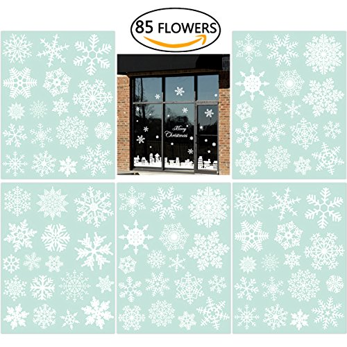 NICEXMAS 85 Vetrofanie Fiocchi di Neve per Natale - Adesivi Statici in PVC
