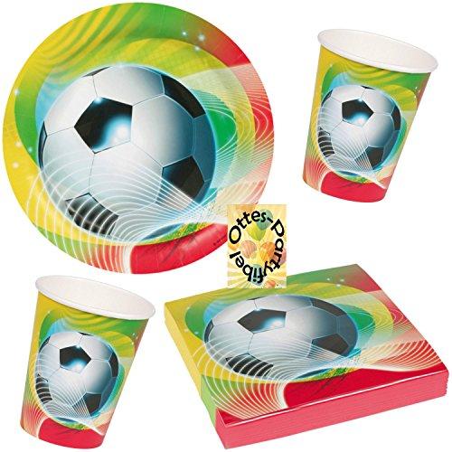 HHO Fußball Soccer Partyset für 16 Kinder 52 Teile Teller Becher Servietten