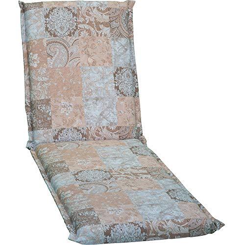 nxtbuy Auflage für Gartenliegen Ascot Zip 195x65x8cm mit Reißverschluss - Premium Liegenauflage mit Schaumkern und abnehmbarem Bezug - Sitzpolster für Gartenliegen, Dessin:Vintage Patchwork Deck Zip