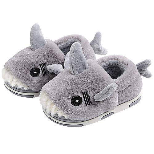 Millya Children Winter Plush Slippers Non-Slip Padded Indoor Shoes Shark Fleece Lined House Slippers,3-10 Years Old