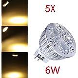 5X Dimmable MR16 LED 6W LED blanco cálido bombilla del punto AC 12-24.