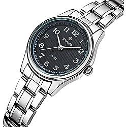 Damen-Armbanduhr Sport Fashion Edelstahl Band Wasserdicht Uhren stoßfest Digital Outdoor Armbanduhr Schwarz