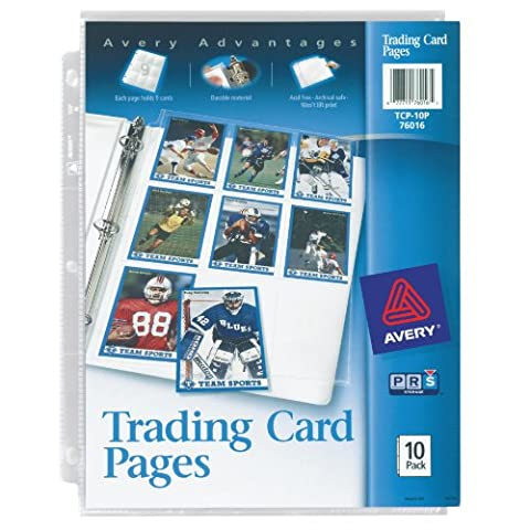 Avery Trading Card Pages for Pokemon, Magic The Gathering, MLB Baseball, NFL Football, Acid Free, 10Pk