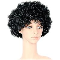 foxxeo 35113 | Negra Afro peluca de pelo cabeza de los años setenta para Fiesta Carnaval