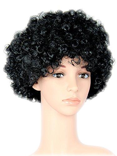 (Foxxeo 35113 | schwarze Afro Perücke 70er Jahre Lockenkopf für Party Karneval Fasching schwarz)
