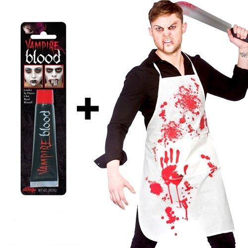 Blutige Schürze + Blood Halloween Kostüm Zombie Koch Erwachsene Herren Damen Kostüm (Zombie Koch Kostüm)