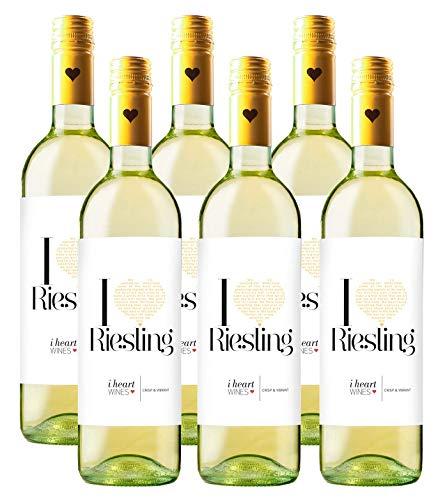 I HEART WINES Riesling Wein (6 x 0.75 l) ǁ crisp & vibrant ǀ frisch & lebhaft ǀ Weißwein ǀ Aprikosen-Pfirsich-Aroma ǀ schmeckt zu allen Gerichten