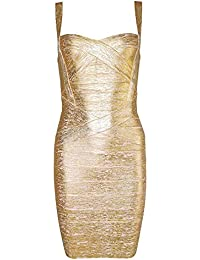 HLBandage Spaghetti Strap Womens Rayon Mini Bodycon Bandage Dress