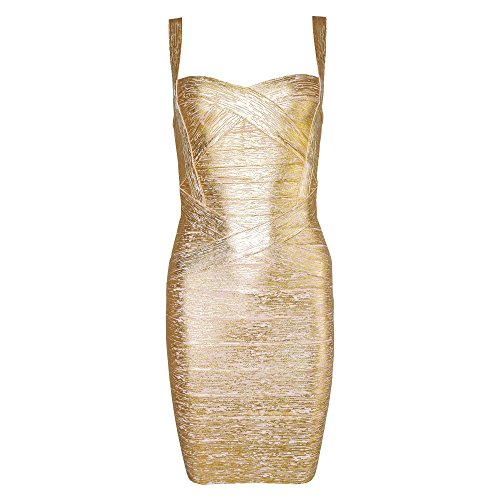 HLBandage Women's Spaghetti Strap Solid Mini Rayon Bandage Dress(S,Gold)