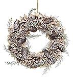 Shatchi 15528-WREATH - Corona de Navidad hecha a mano con bolas de algodón auténtico, conos de pino vintage para decoración de puertas de Navidad, color verde