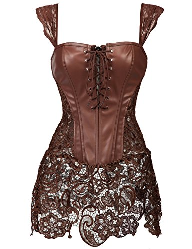 Beauty-You Damen Steampunk Korsett Kunstleder korsagenkleid Rock Kostüm (XL/DE 38-40, Braun)