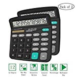 Calculators, BESTWYA 12-Digit Dual Power Handheld Desktop Calculator with Large LCD Display Big Sensitive Button (Black,Pack of 2)