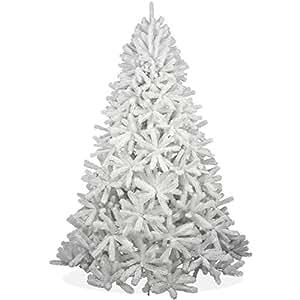 Weißer künstlicher Weihnachtsbaum 240cm in Premium Spritzguss Qualität, weiße Douglastanne, Tannenbaum weiß mit PE Kunststoff Nadeln, Douglasie Christbaum im schneeweißen Design