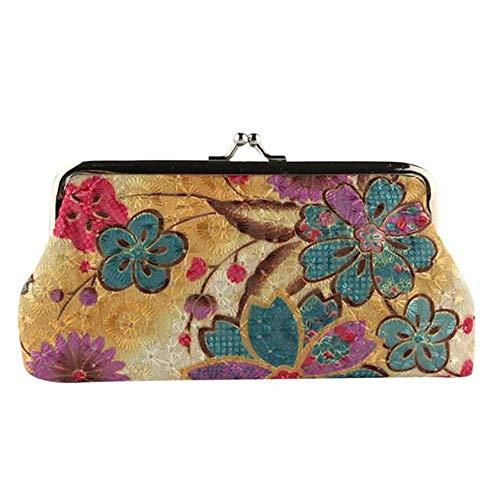COZOCO Frauen Dame Retro Vintage Blume Kleine Brieftasche Haspe Clutch Abendtasche Umschlag Handtasche Clutch Geldbörse - Burgund-polyester-gewebe