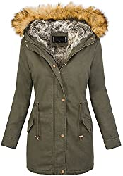 Rock Creek Designer Damen Winterjacke Teddyfell Mantel Winter Parka Wintermantel Outdoorjacke Teddfell Futter Warme Damenjacke Gefüttert D-208 Dunkelgrün L