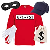 Sweatshirt PANZERKNACKER Set Kostüm mit WUNSCHNUMMER-STANDARDNUMMER Herren und Kinder Verkleidung SET06 Sweater/Cap/Maske/Handschuhe/Beutel L