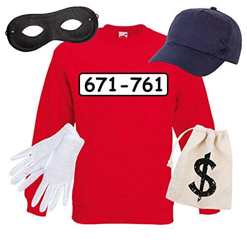 Sweatshirt PANZERKNACKER Set Kostüm mit WUNSCHNUMMER-STANDARDNUMMER Herren und Kinder Verkleidung SET06 Sweater/Cap/Maske/Handschuhe/Beutel M (Panda Kostüm Männer)