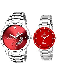 Cubia Analogue, Day and Date Display Red Dial Men and Women's Watch