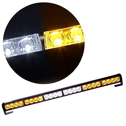 Rupse 27 Inches 24 LED Hazard Emergency Warning Tow Traffic Advisor Flash Strobe Light Bar (White/Amber)