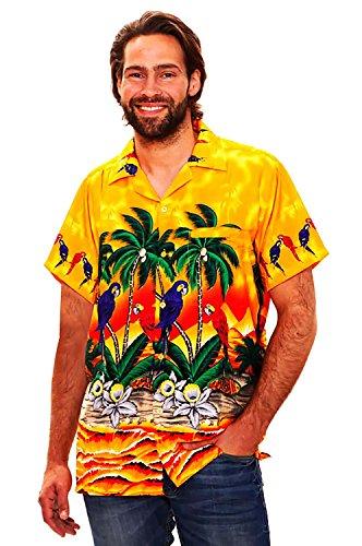 Funky-Camisa-Hawaiana-Parrot-amarillo-M