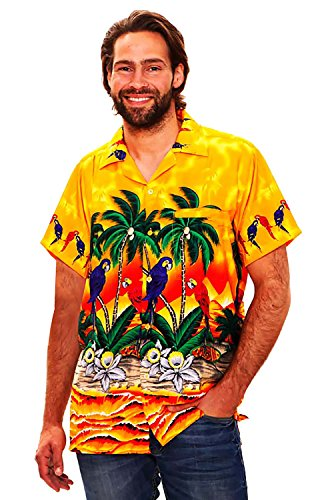 Funky camicia hawaiana, parrot, giallo, m