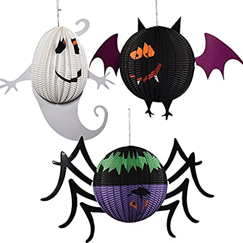 3x Demarkt Halloween Laternen Anhänger Halloween Party Dekoration Requisiten aus Papier Spinne Fledermäuse Geist Form