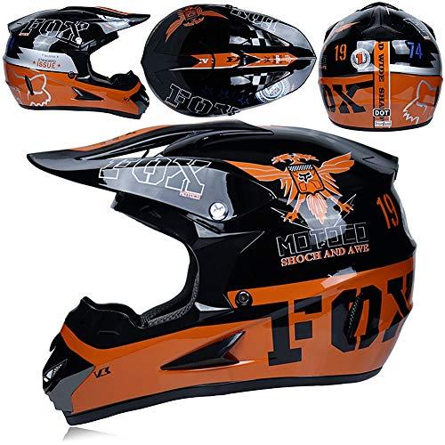 Motocross Helm, Motorradhelm Kinder Cross Helme Schutzhelm Helm Adult Off Road Helm mit Handschuhe Maske Brille, Unisex ATV Helm, Motorrad Kinderquad und Crossbike Sicherheit Schutz