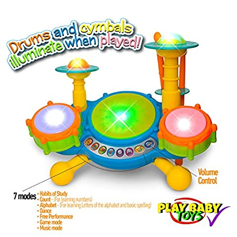 Play Baby Toys Big Beats Pre-School Jazz Drum Set With Preloaded Songs And Music With Educational Activities Like Counting And Developing A Sense Of Music