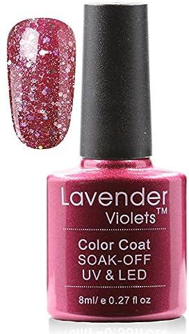 Lavande violets® Soak Off LED/UV Paillettes Vernis à ongles gel 8ml pour vernis gel Paillettes Manucure brillant Vernis à ongles nail art Salon DIY