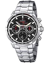 Festina hombre reloj de cuarzo con cronógrafo negro y plata pulsera de acero inoxidable f6836/4
