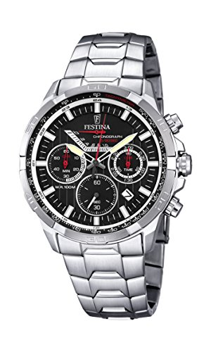 Festina Men's Quartz Watch with Black Dial Chronograph Display and Silver Stainless Steel Bracelet F6836/4