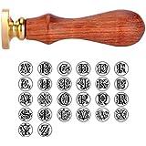 HOUSWEETY Cachet Sceau Tampon Batonnet Vintage Alphabet Laiton et Bois Cire pour Lettre Courrier N
