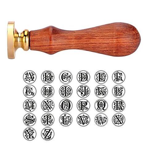 HOUSWEETY Cachet Sceau Tampon Batonnet Vintage Alphabet Laiton et Bois