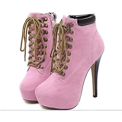 GS~LY Martin Croce strappy stiletto scarpe con tacchi alti stivali impermeabili Stivaletti , pink , 35