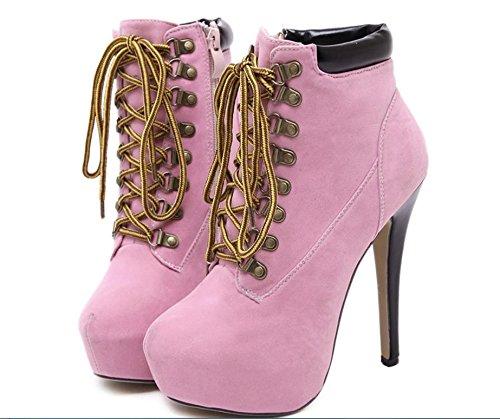 GS~LY Martin Kreuz Riemchen Stiletto Schuhe mit high Heels Stiefel wasserdicht kurze Stiefel Pink