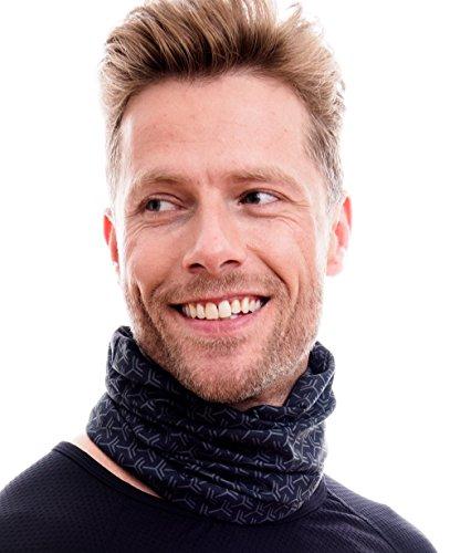 Hilltop Multifunktionstuch. Cooles und warmes Kopf- und Halstuch in modernen aktuellen Farben, Farbe/Design:schwarz - grau Ecken