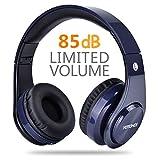 Wireless Kopfhörer 85dB begrenzt, Votones Einstellbare Faltbare Bluetooth Headset, Leichte über Ohr Kopfhörer für Android-Handy, iPad (Blau)
